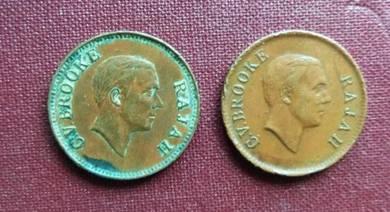 Sarawak Old Coins C.V Brooke 1 cent (2 pieces Set)