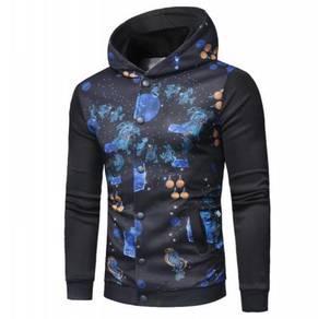 Hooded Printed Sweater Cardigan Jacket MFCYG 9425