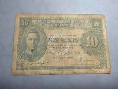Malaya British 10 Cents Old Bank Notes