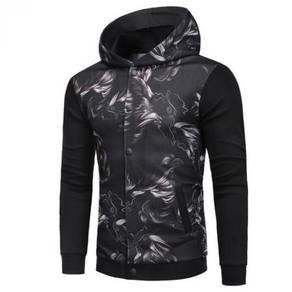 Hooded Printed Sweater Cardigan Jacket MFCYG 9429