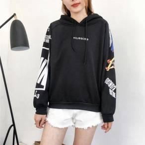 Harajuku Printed Velvet Hooded Sweater WFCZX 31238