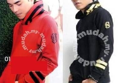 0119 Hoodie Black Red Men's Pullover Sweater Shirt