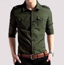 0521 Army Green Formal Epaulette Long Sleeve Shirt