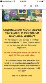 Pokemon Go Safari Zone (Sentosa) Ticket