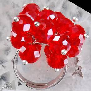 ABRSB-R004 Red Flowers Beads Silver Metal Ring FS