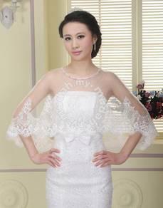 Simple Round Neck Lace Edge Bridal Jacket
