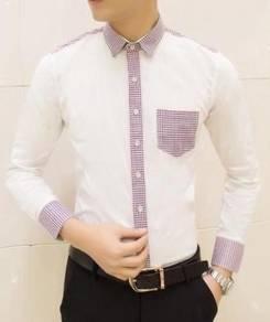 82087 White Mixed Plaid Formal Long Sleeved Shirt