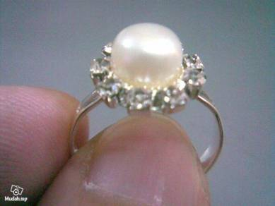 ABRSP-W004 Nice Crystal Pearl Silver Ring - All Sz