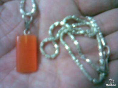 ABPCE-O001 Orange Color Cat Eye Rectangle Necklace