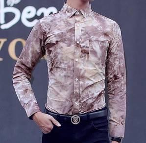 76504 Floral Coffee Men Formal Long Sleeved Shirt
