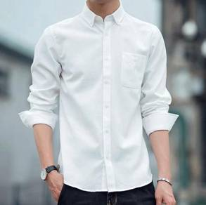 (565) White Business Casual Man Long-Sleeved Shirt