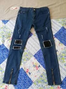 Seluar Jeans Biru Slim Fit Size 36