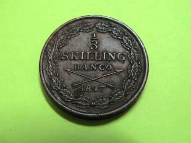 Sweden 1/3 Skilling 1847 [Kod : A2111]