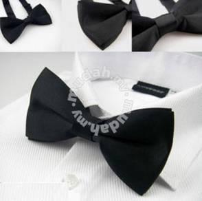 002 Black Plain Bow Tie Formal Business Bowtie