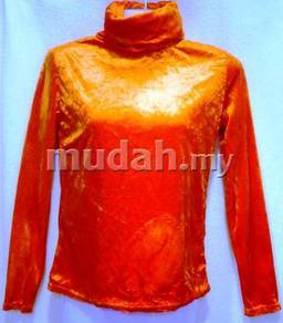 Imported Turtle Neck Orange Long Sleeves top