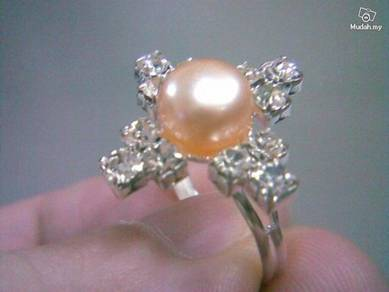 ABRSP-P001 Nice Crystal Pearl Silver Ring - All Sz