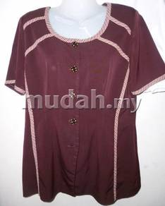 Dark Purple Simple Design 2 PC Set Blouse -Skirt