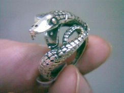 ABRSM-S002 Style Silver Metal Ring size 8 - Snake