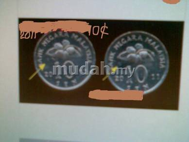 Malaysia 10 cents coins 2011