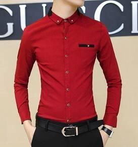 5061 Stylish Collar Formal Red Long-Sleeved Shirt