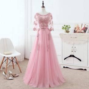 Pink long sleeve prom wedding dress gown RBMWD0253