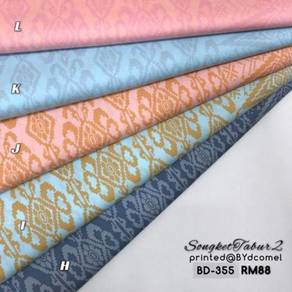 Kain Cotton Songket Printed BD-355 (Pastel Color)