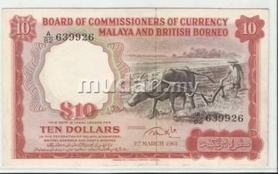 Kerbau 1961 10 banknote Large A serial no
