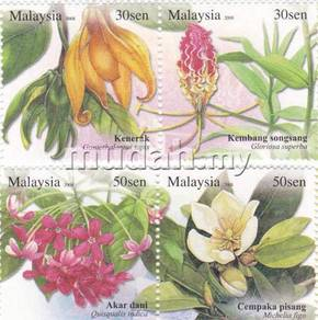 Mint Stamps Unique Flowers Malaysia 2008