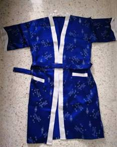 Blue white robe kimono sleep bathrobe nighwear