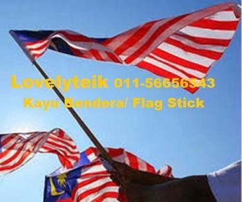Kayu Bendera Hard Wood Flag Rod Wooden Stick