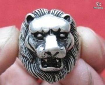 ABRSM-L001 Lion Face Head Silver Metal Ring - Sz 9