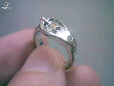ABRSM-B003 Belt Style Silver Metal Ring - Size 5