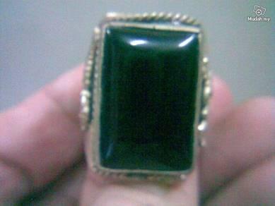 ABRSJ-B002 Square Black Jade Metal Style Ring FS