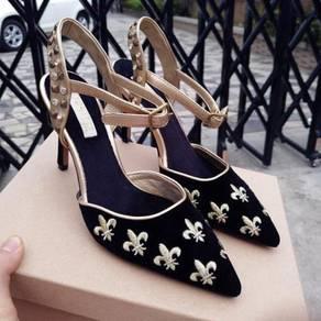 Black green studded diamond heels 9cm RBH0190