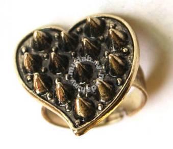 ABRB-H002 Bronze Punk Rivet Heart Shape Ring FS