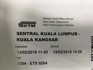 ETS Train ticket from KL Sentral to Kuala Kangsar