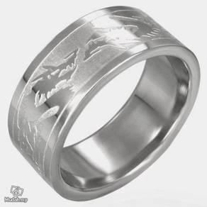 ABRSS-D006 6-Dragons 2 tone Stainless Ring Size 7