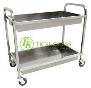 Stainless Steel 2 Tier Food Trolley Bowl Type