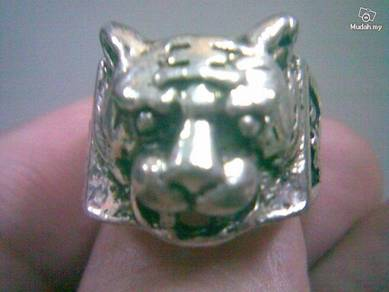 ABRSM-T003 Tiger Face Head Style Silver Metal Ring