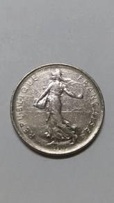 Vintage France 2 & 5 Francs Coins ( 5 Coins)