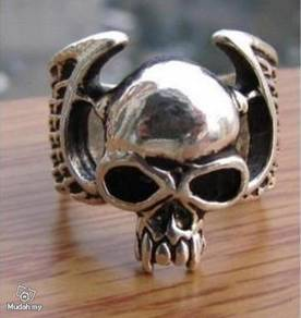 ABRSM-S001 Skull Style Silver Metal Ring - Size 10