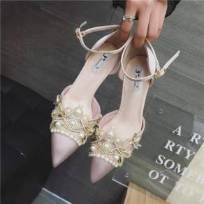 Pink black pointed diamond heels rbh0106