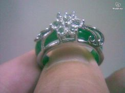 ABRSJ-G003 Flower Crystal Green Jade Silver Ring 7