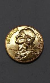 Vintage France 5 Centimes Coins ( 6 Coins)
