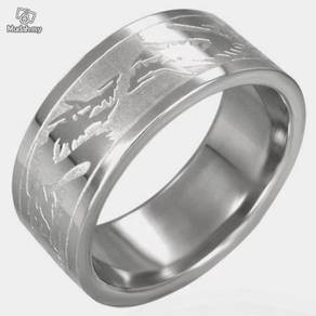 ABRSS-D006 6-Dragons 2 tone Stainless Ring Size 8