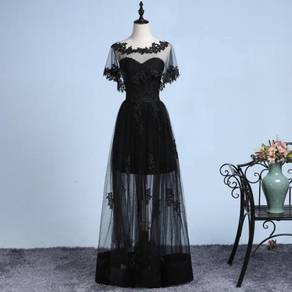 Black lace bridal wedding dress bridesmaid gown