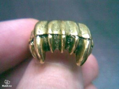 ABRB-V001 Bronze Vampire Tooth Jawbone Ring -Sz6.5