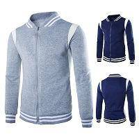 W50 Y803 SWEATER BASEBALL JACKET MEN WiTH POSTAGES