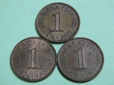 Syiling 1 sen Malaysia tahun 1967,1968 & 1971
