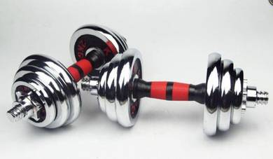 15KG Chrome Dumbbell Barbell 2 in 1 35cm Connector